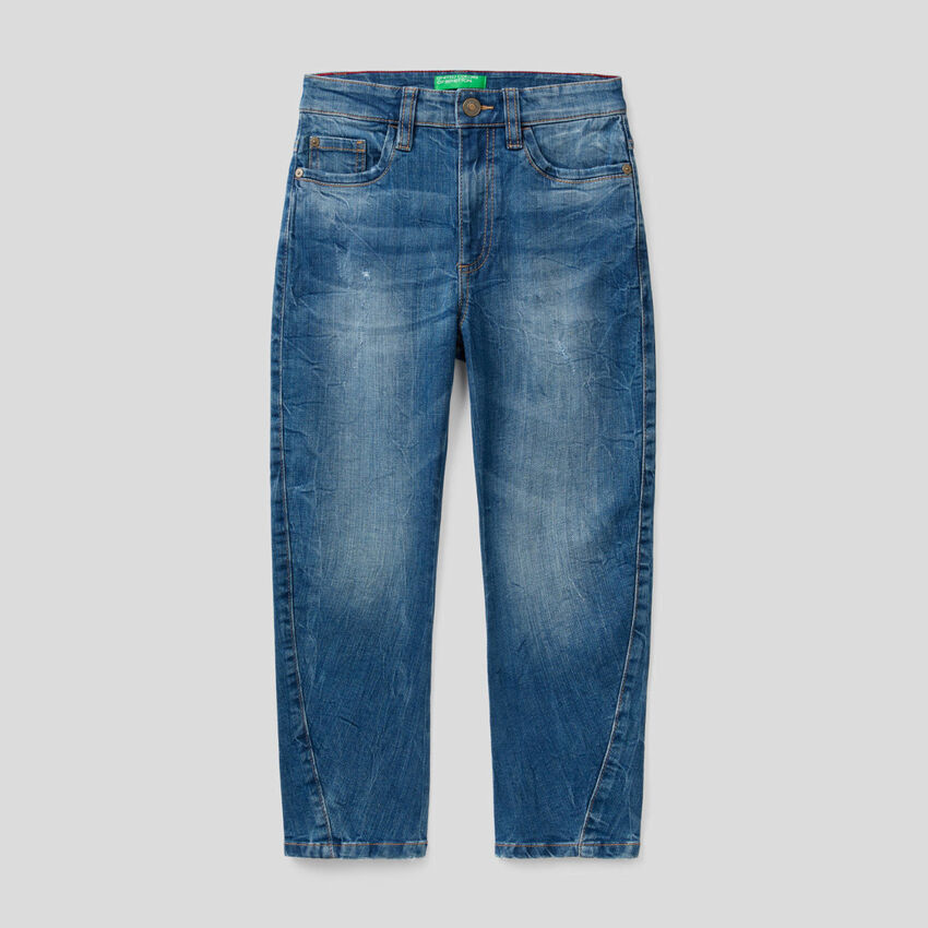 Carrot fit jeans in stretch cotton