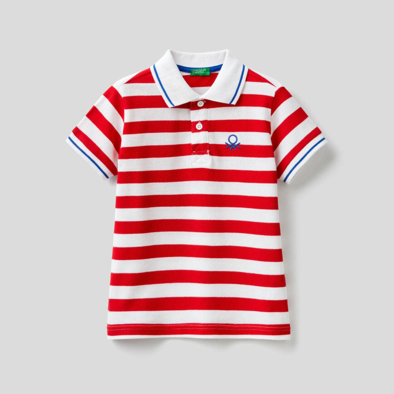 Striped polo in 100% cotton