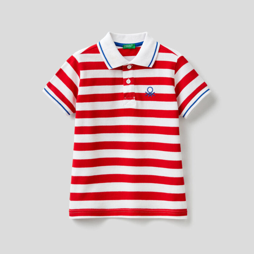 Striped polo in 100% cotton