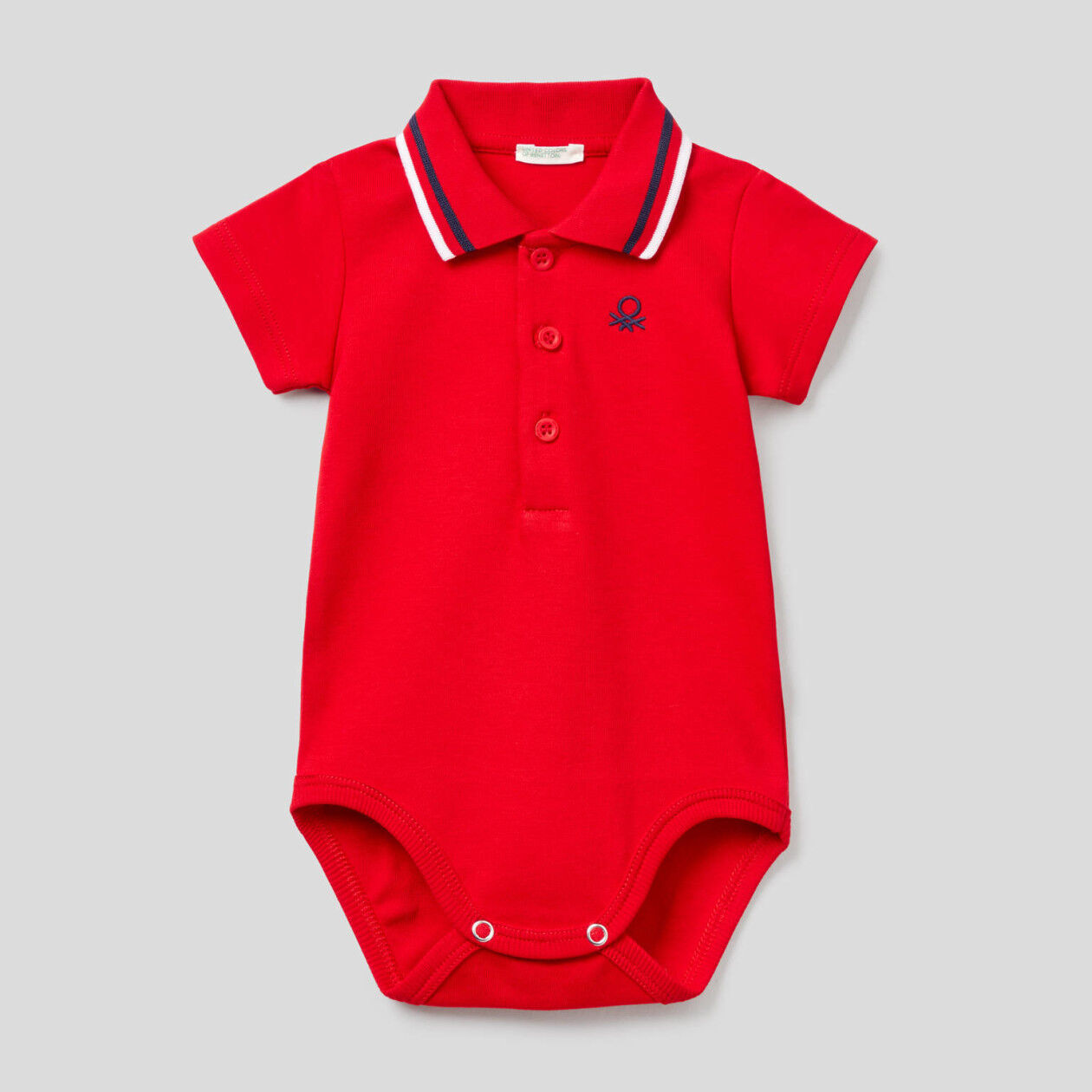 Bodysuit polo in organic cotton