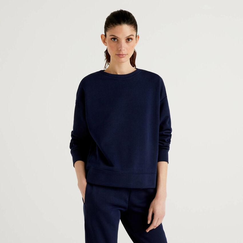 Dark blue sweatshirt in cotton blend