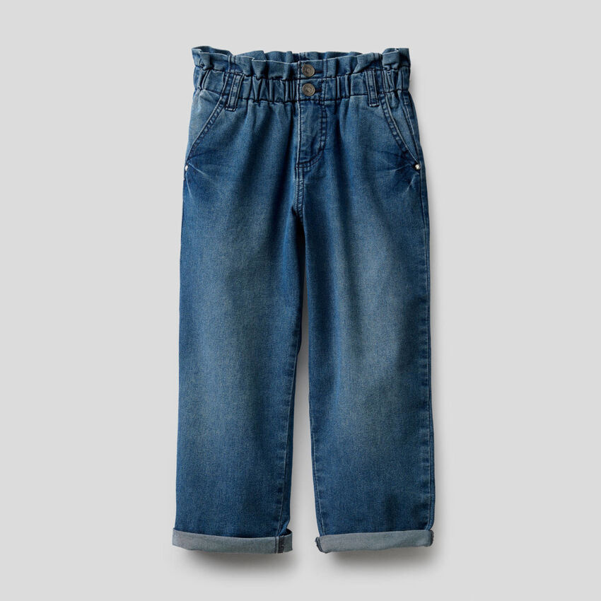 Paperbag jeans in stretch cotton blend