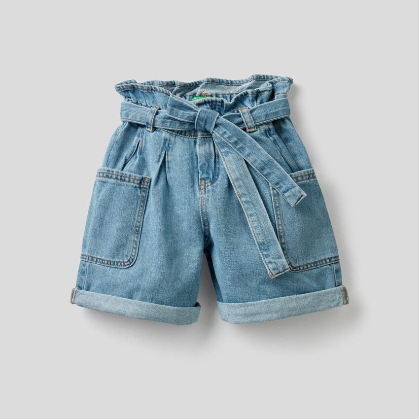Shorts in pure cotton denim