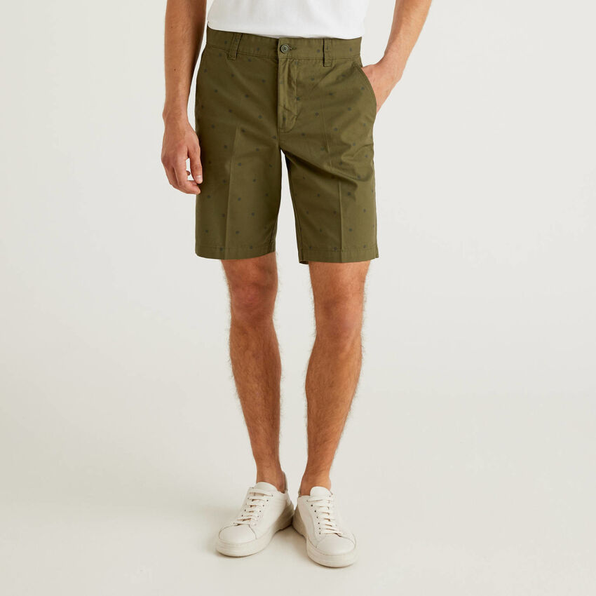 100% cotton patterned bermudas