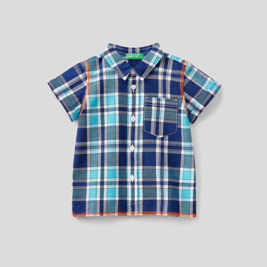 Check shirt with short sleeves