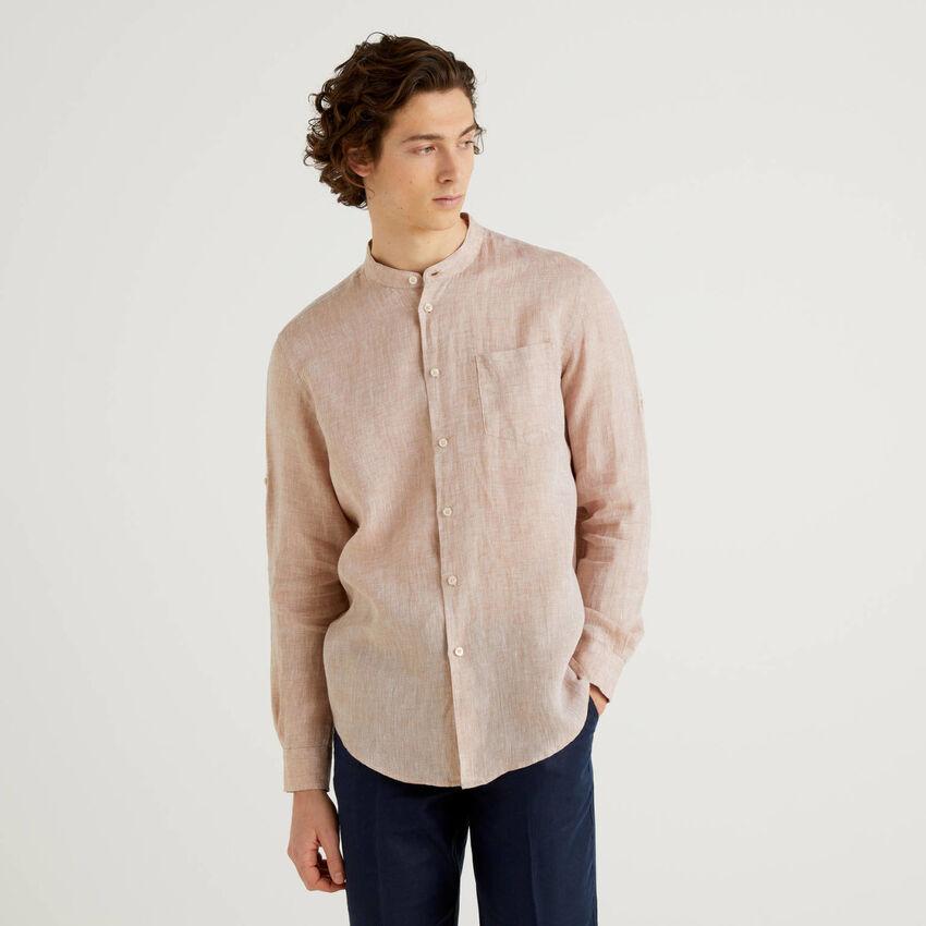 Linen short with Mandarin collar