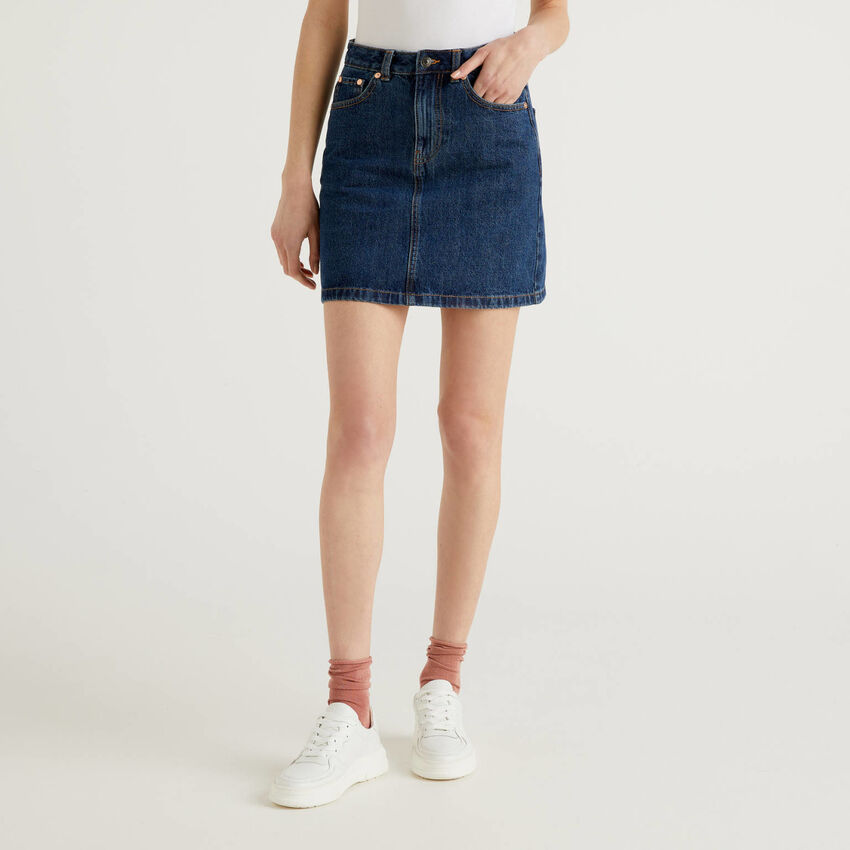 Mini skirt in 100% cotton denim