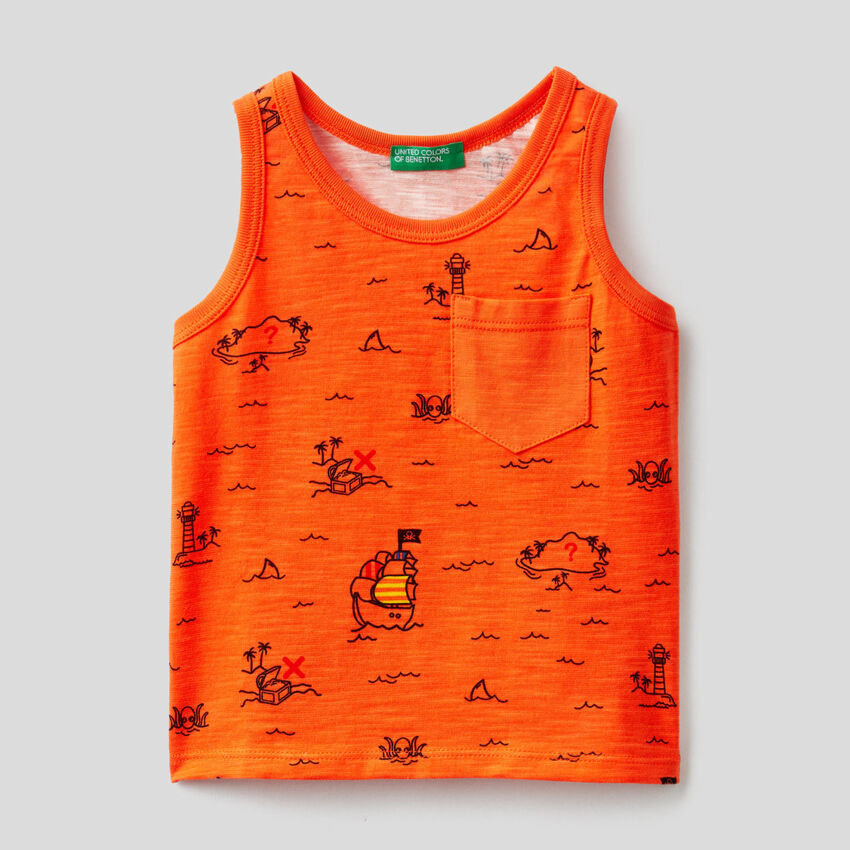 Tank top with treasure island print