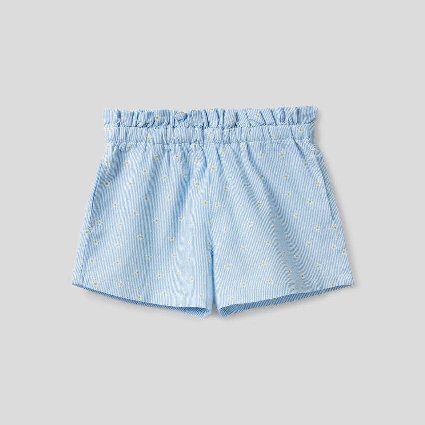 Striped bermudas with rouches at the waist