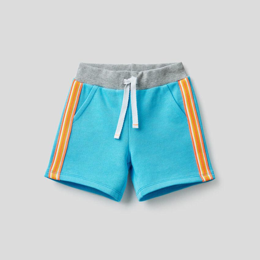 Sweat bermudas with multicolor stripe