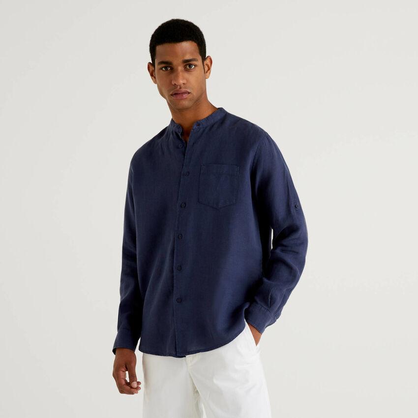 100% linen Mandarin collar shirt