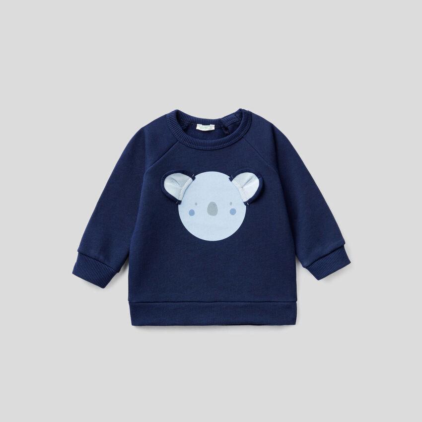 Organic cotton sweatshirt with animal print