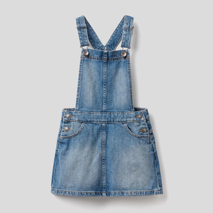 Dungaree skirt in pure cotton