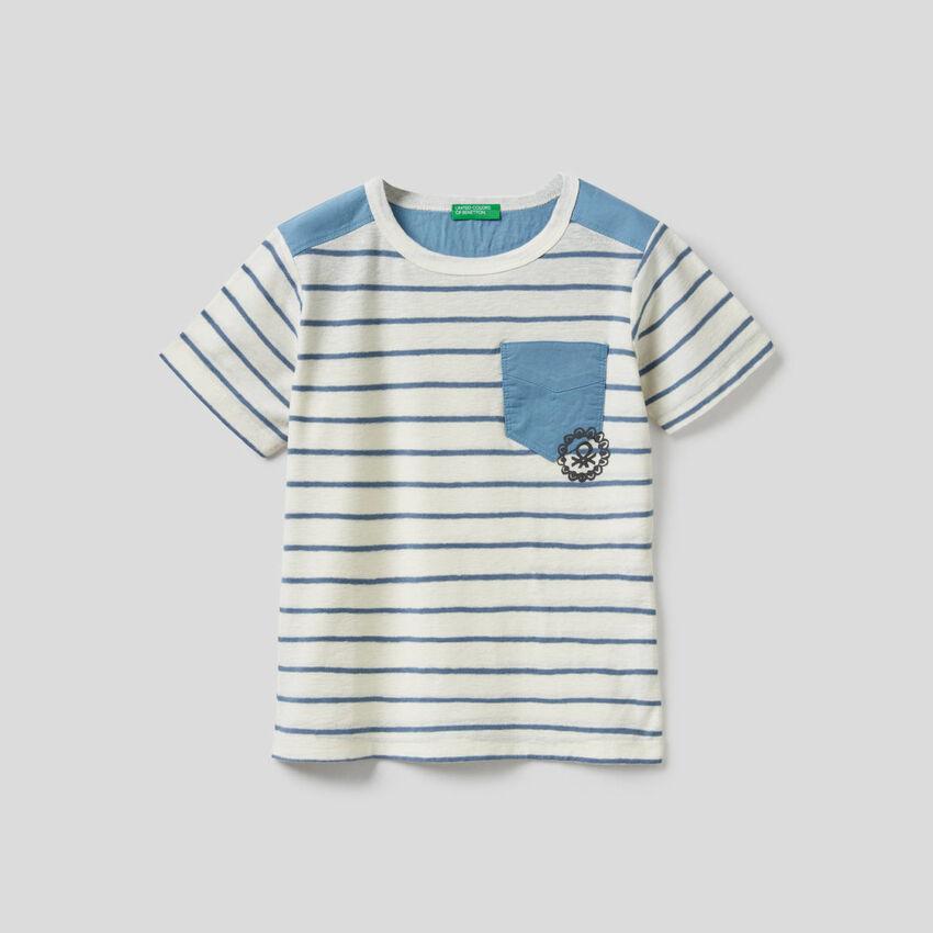 Striped t-shirt in linen blend cotton