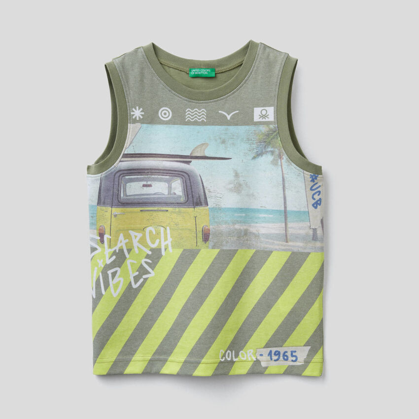 Tank top with surf theme print