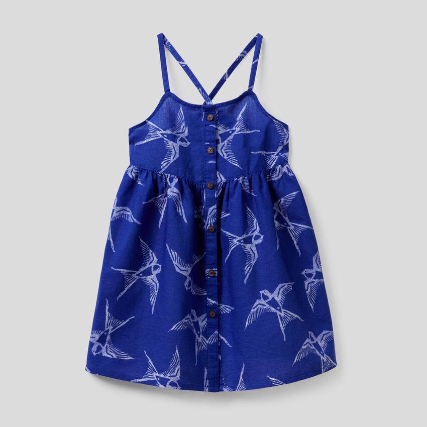 Printed dress in cotton linen blend