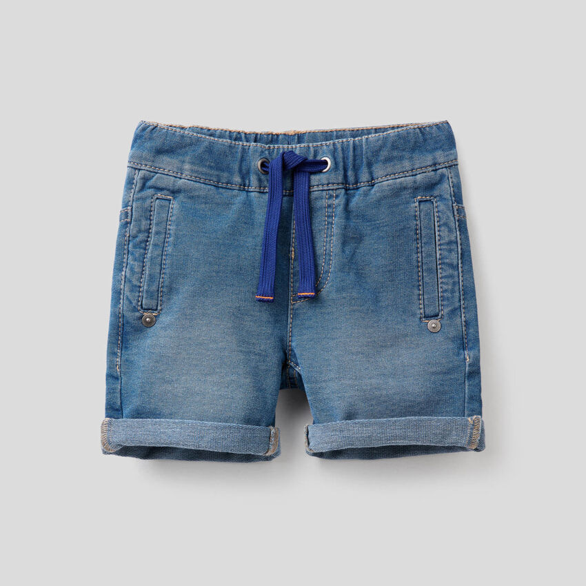 Denim-look sweat bermudas